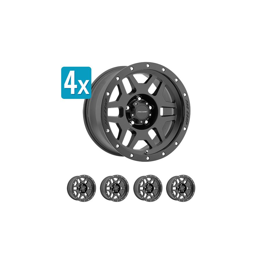 (Set Of 4 Wheels) Pro Comp Series 41, 17x9 With 6 On 5.5